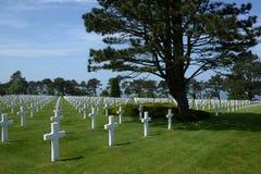 Amerikaanse begraafplaats in Normandië Frankrijk Stock Fotografie