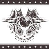 Amerikaanse burgeroorlogachtergrond met hoofd van bizon en wapens Royalty-vrije Stock Foto's