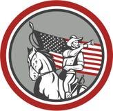 Amerikaanse Cavaleriemilitair Blowing Bugle Circle stock illustratie