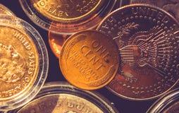 Amerikaanse centmuntstuk stock foto's