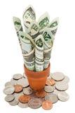 Amerikaanse contant geld en muntstukken stock fotografie