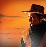 Amerikaanse cowboy in hoed Stock Fotografie