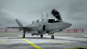 Amerikaanse de lucht militaire basis van de V.S. straalvechter F-35 Realistische CG-animatie stock video