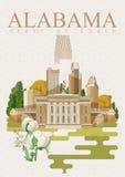 Amerikaanse de reisaffiche van Alabama Hart van Zuiden royalty-vrije illustratie