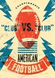 Amerikaanse de stijlaffiche van voetbal typografische uitstekende grunge Retro vectorillustratie Royalty-vrije Stock Afbeelding