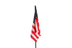 Amerikaanse die Vlag op wit wordt geïsoleerd Stock Foto's