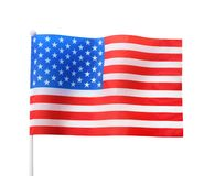 Amerikaanse die vlag, op wit wordt geïsoleerd Nationale symbo stock foto's