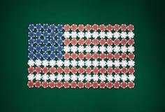 Amerikaanse die vlag uit spaanders wordt samengesteld Stock Foto's