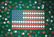 Amerikaanse die vlag uit spaanders wordt samengesteld Royalty-vrije Stock Afbeeldingen