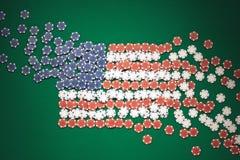 Amerikaanse die vlag uit spaanders wordt samengesteld Stock Fotografie