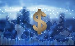 Amerikaanse dollar als globaal middel van betaling, 3d illustratie royalty-vrije stock fotografie