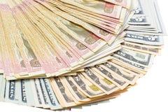 Amerikaanse dollar en Oekraïense hryvnia Stock Afbeelding