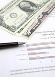 Amerikaanse dollar en pen op grafiek Royalty-vrije Stock Afbeelding