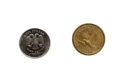 Amerikaanse dollar en Russische roebel Royalty-vrije Stock Afbeeldingen