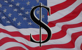 Amerikaanse dollar en vlag Stock Afbeeldingen