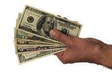 Amerikaanse dollar in geen achtergrond Het geld van de de Handholding van geldbankbiljetten Royalty-vrije Stock Afbeeldingen