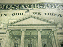Amerikaanse Dollar in God vertrouwen wij Benadrukte op Inschrijving stock afbeeldingen