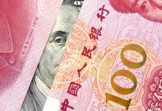 Amerikaanse dollar tegenover de Yuans van China Royalty-vrije Stock Foto's