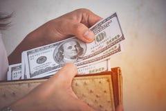 Amerikaanse dollarbankbiljetten stock foto's