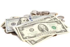 Amerikaanse dollars bankbiljet en muntstukken Stock Foto's