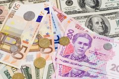 Amerikaanse Dollars en EURO en Oekraïense Gruvna Stock Afbeelding
