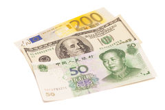 Amerikaanse dollars, Europese euro en Chinese yuansrekeningen Stock Afbeeldingen