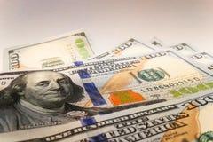 Amerikaanse dollars Geldbankbiljetten Rekening van de rekeningen van de gelddollar stock foto