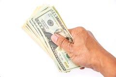 Amerikaanse dollars op hand royalty-vrije stock afbeeldingen