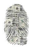 Amerikaanse dollars Vingerafdruk Royalty-vrije Stock Foto's