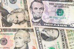 Amerikaanse dollarsbankbiljetten commercieel en bankwezenconcept Royalty-vrije Stock Foto's