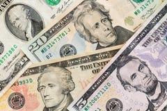 Amerikaanse dollarsbankbiljetten commercieel en bankwezenconcept Royalty-vrije Stock Afbeeldingen