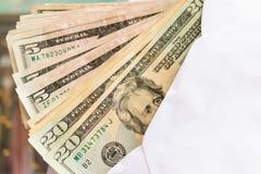 Amerikaanse dollarsbankbiljetten commercieel en bankwezenconcept Royalty-vrije Stock Afbeelding
