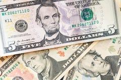 Amerikaanse dollarsbankbiljetten commercieel en bankwezenconcept Stock Afbeeldingen