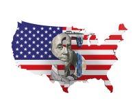 Amerikaanse dollarsymbool en Kaart Stock Afbeeldingen