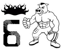 Amerikaanse eenvormige voetbal van het spier de wilde varken Stock Foto's