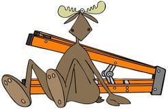 Amerikaanse elanden die van een ladder vielen stock illustratie