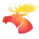 Amerikaanse elandenhoofd Waterverfsilhouet op een witte achtergrond Stock Afbeeldingen