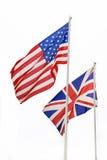 Amerikaanse en Britse geïsoleerdet vlaggen Stock Afbeeldingen