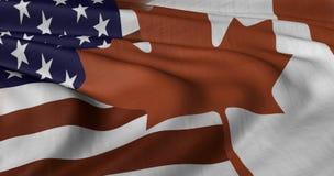 Amerikaanse en Canadese Vlag Stock Foto