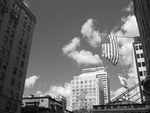 Amerikaanse en Canadese Vlag B&W Stock Afbeeldingen