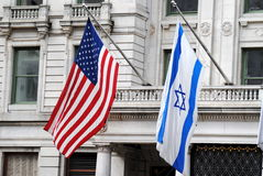 Amerikaanse en Israëlische Vlaggen Royalty-vrije Stock Foto's