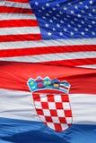 Amerikaanse en Kroatische nationale vlaggen Royalty-vrije Stock Foto
