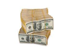 Amerikaanse geïsoleerde dollarstapel Royalty-vrije Stock Fotografie