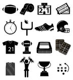 Amerikaanse geplaatste voetbalpictogrammen Stock Afbeelding