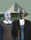 Amerikaanse Gotisch, Robots, Technologie, Robotpaar Stock Foto