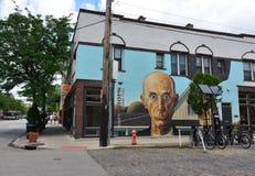Amerikaanse Gotische Muurschildering - het Korte District van het Noordenkunsten - Columbus, Oh stock afbeeldingen