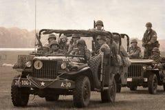 Amerikaanse historische Jeeps Royalty-vrije Stock Foto's