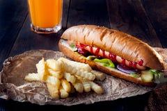 Amerikaanse hotdog Royalty-vrije Stock Afbeeldingen