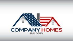 Amerikaanse Huizen Logo Business Card royalty-vrije illustratie