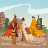 Amerikaanse Indiër bij dorp stock illustratie